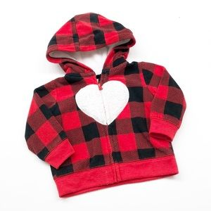 Carter's plaid heart zip up jacket with hood